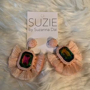 Suzanna Dai Rhinestone Tassel Fan Earrings NWT